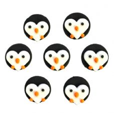 Happy Heart Penguins Sugar Decorations